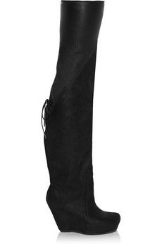 Rick Owens Leather over-the-knee boots | THE OUTNET