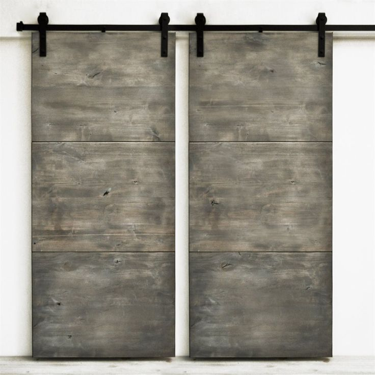Dogberry Collections d-slab-3682-slvw-none-dbhd Modern Slab Double Barn Doors   ATG Stores