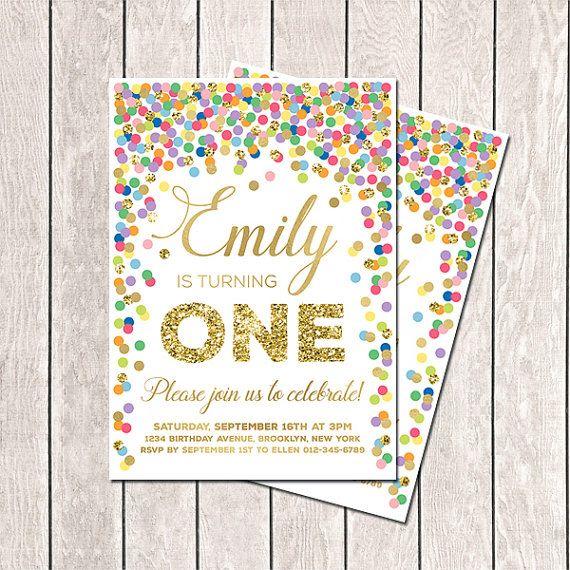 First Birthday Invitation Rainbow Invite Confetti Invitation Printable 1st Birthday Invite Colorful Invitation Any Age Rainbow Birthday on Etsy, $11.25 AUD