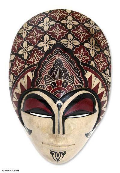 Wood batik mask, 'Prince Sun' (large) by NOVICA