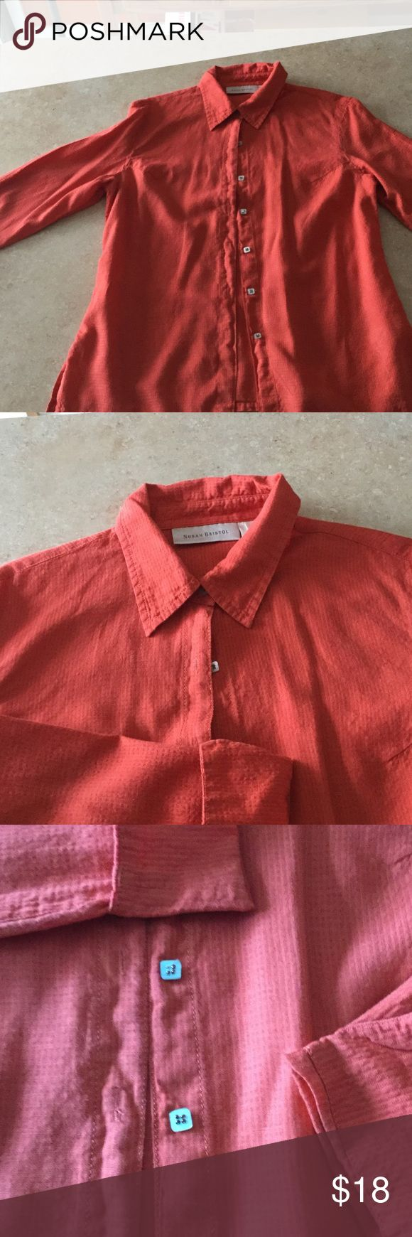 "Beautiful orange ladies ""work shirt""🎃 Waffle linen with great details!  Mother of pearl square buttons, 3/4 rolled sleeves, side slits💕 Susan Bristol Tops Button Down Shirts"