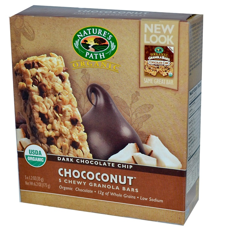 Nature's Path, Organic Chewy Granola Bars, Dark Chococonut, 5 Bars, 1.2 oz (35 g) Each - iHerb.com