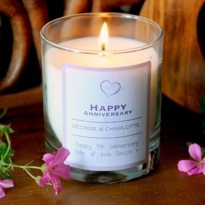 Personalised happy anniversary scented candle #wedding #anniversary #thepersonalisedgiftshop £14.99