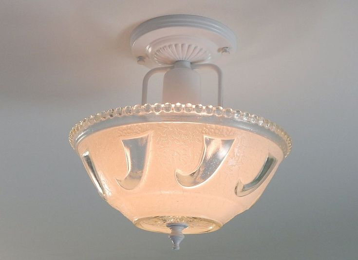 Center Post War Era Ceiling Light with Vintage Glass Shade and New Fixture $182.99 with free shipping
