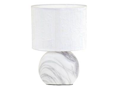 Lampada da tavolo in tessuto e ceramica grigio e bianco Sanna