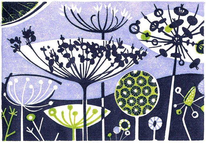 'Clifftop II' wood engraving by Angie Lewin http://www.angielewin.co.uk