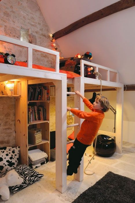 I like loft bed being built into wall. Bigger than the bed so its easy to make, with appropriate guard rails to prevent falls, and full head space underneath to have total floor space still