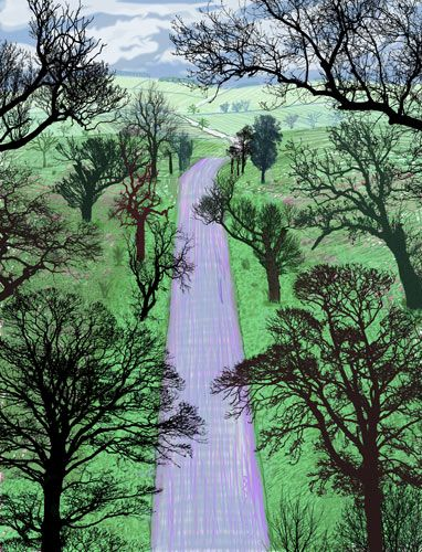 David Hockney Winter Road Near Kilham, 2008 This is a printed computer drawing sized 1226 x 940mm and I like the contrast between the all black silhouetted trees and the bright green grass land. I also like the odd composition and angles Hockney has used, the land looks like it is descending away however the trees come from all angles of the picture and look like a front view.