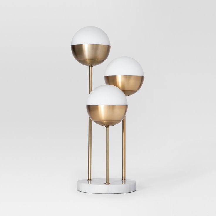 Geneva Triple Glass Globe Table Lamp Brass Project 62