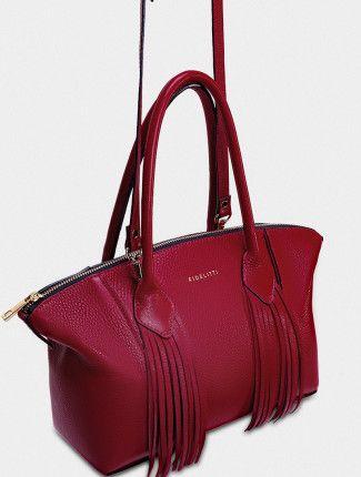 Кожаная сумка бордового цвета