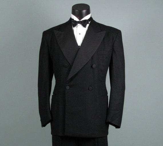 MENS SALE 1940s men's black wool tuxedo pants / 40s men's tux pants JOeDtIE