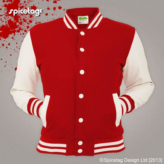 Red Varsity Jacket Scarlet College Letterman Coat Baseball Top American Fashion Clothing University Womens Mens Outfit Trending