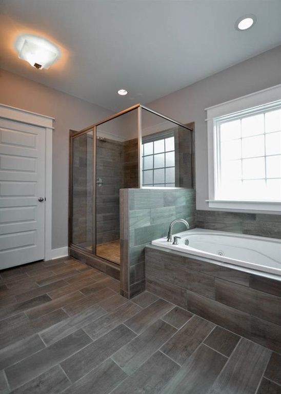 Transitional Master Bathroom With Master Bathroom Flush Light Slate Tile Floors High Ceiling