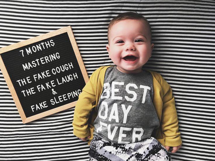 Brady Jordan 7 Months Showit Blog Baby Milestones Pictures Baby Milestone Photos Baby Photoshoot Boy