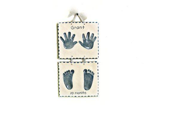 Child Hand Print and Foot Print Art  Ceramic by TheBabyHandprintCo