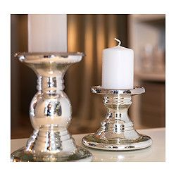 SKIMMER Block candle holder - IKEA- Two sizes, $8 & $10. Perfect for the family room.