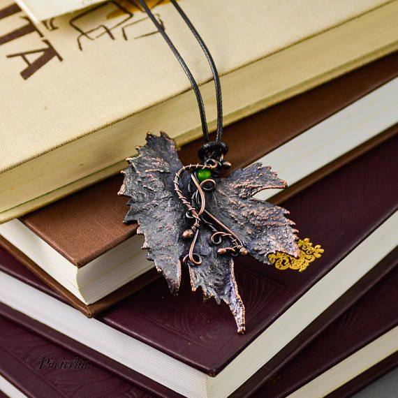 Real vine leaf Necklace ElectroformedCopper Jewelry Gems