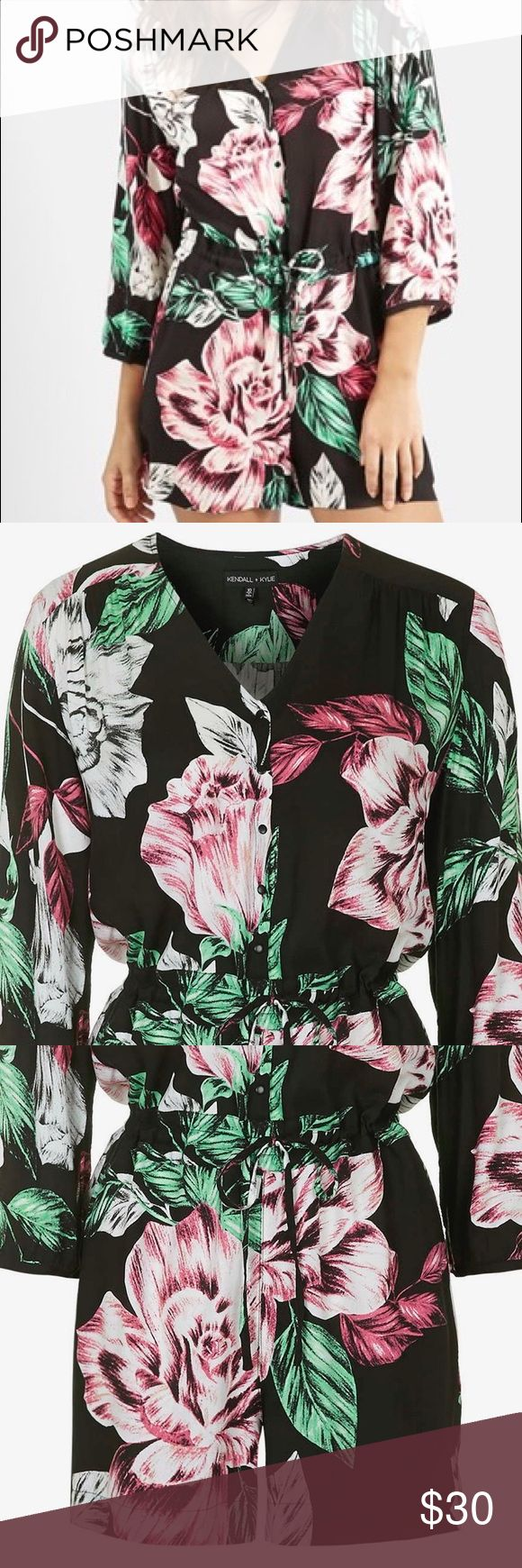 Kendall + Kylie Topshop Romper Floral romper from Kendal + Kylie for Topshop. Great for going out or romping around town :) UK 10 EURO 38 US 6 Kendall & Kylie Pants Jumpsuits & Rompers