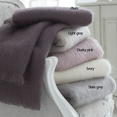 Mohair throws--essential for long New England winters; collor palette fall/winter