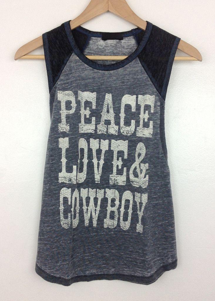 peace,love & cowboy graphic baseball tank