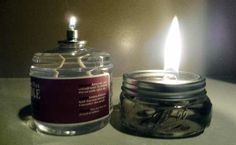 DIY 100 hr candles The supplies you need are pretty straight forward. Liquid paraffin, lantern wicks and 1/2 pint mason jars.  If you can't seem to locate liquid paraffin you can replace it with mineral oil and coconut oil with a ratio of 2:1.