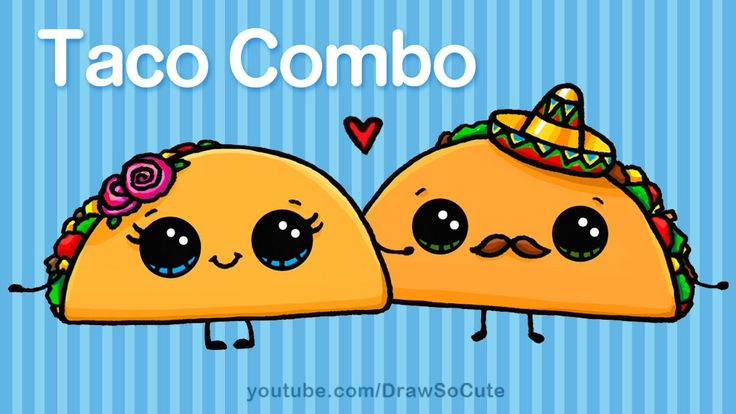 How to Draw Cartoon Tacos Cute step by step Easy - Cute Cartoon Food