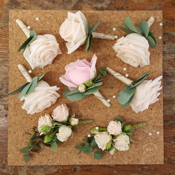 Clic Rose Eucalyptus Onholes Corsages In Pale Pink Cream Www Weddingandevents Wedding