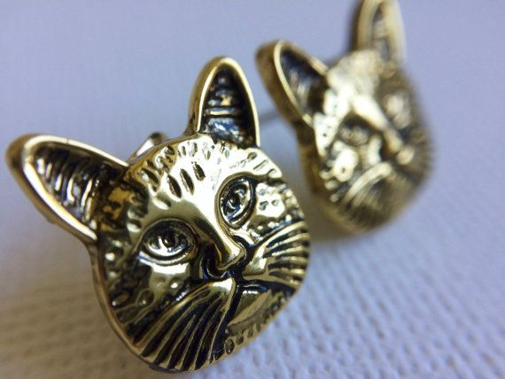 Gold Cat Stud Earrings by PERCIVALandHUDSON on Etsy