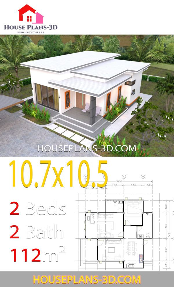 House Plans 10 7x10 5 With 2 Bedrooms Flat Roof House Plans 3d In 2020 House Plans Flat Roof House Small House Design Plans