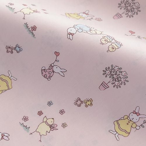 100*160cm pink rabbit cartoon 100% cotton twill cloth bedding DIY patchwork textile quilt baby cute chic fabric by meter
