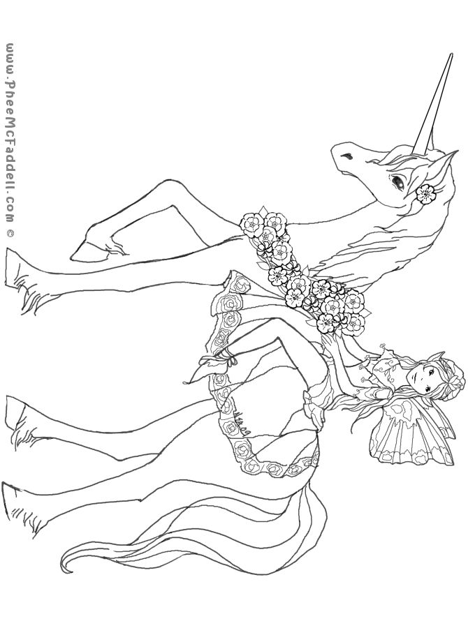 Unicorns And Fairies - Free Colouring Pages