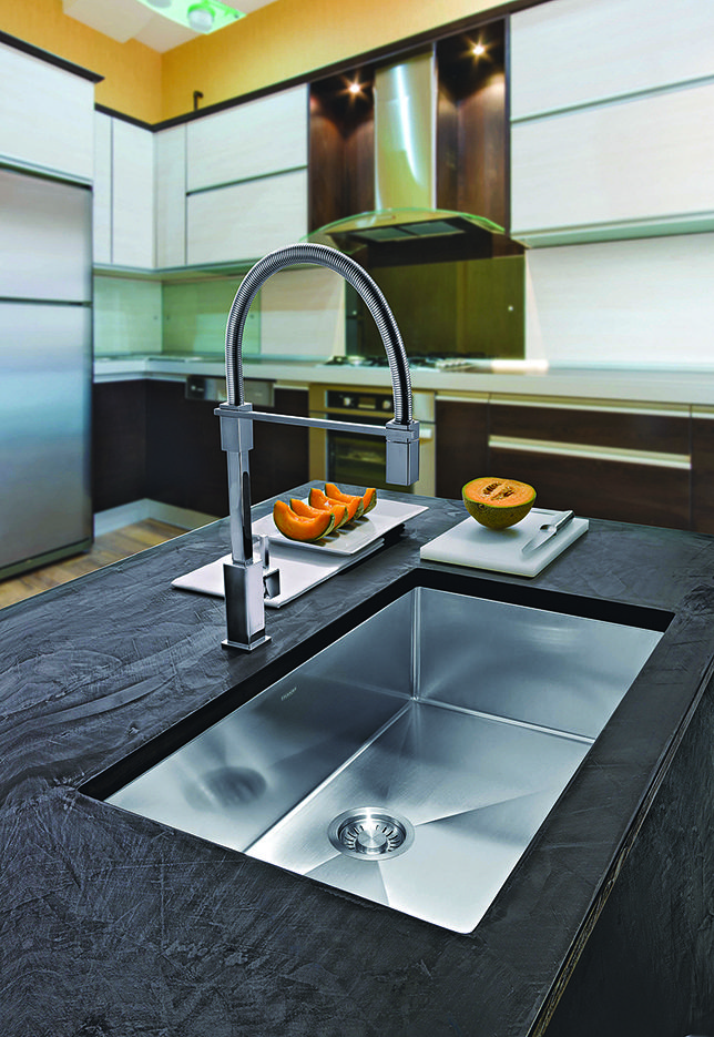 Give your kitchen sophistication and class with a stainless steel pull-down faucet by Franke.