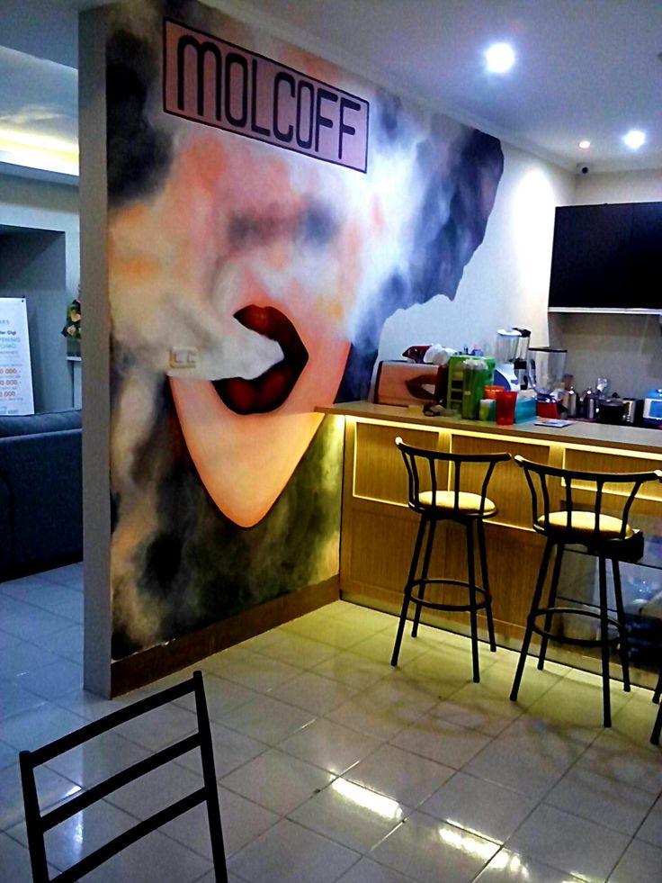"Yanas Kosel - Finally done well ""Lip Smoker"" 300x400 Cm, Acrylic on wall at Molcoff Coffee Shop 2016 Bandung City, West Java Province, Indonesia."