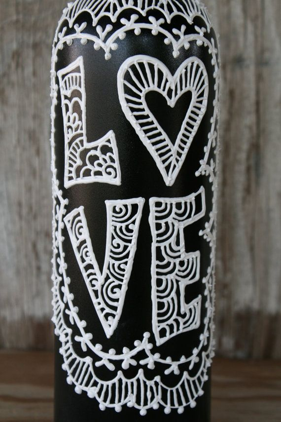 Painted Wine Bottle, Love, Black and White, Wedding centerpiece, Pretty Vase