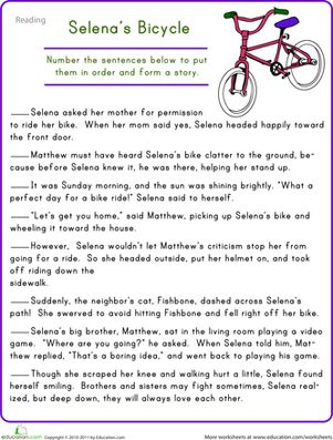Fourth Grade Comprehension Worksheets: Story Sequencing: Selena's Bicycle