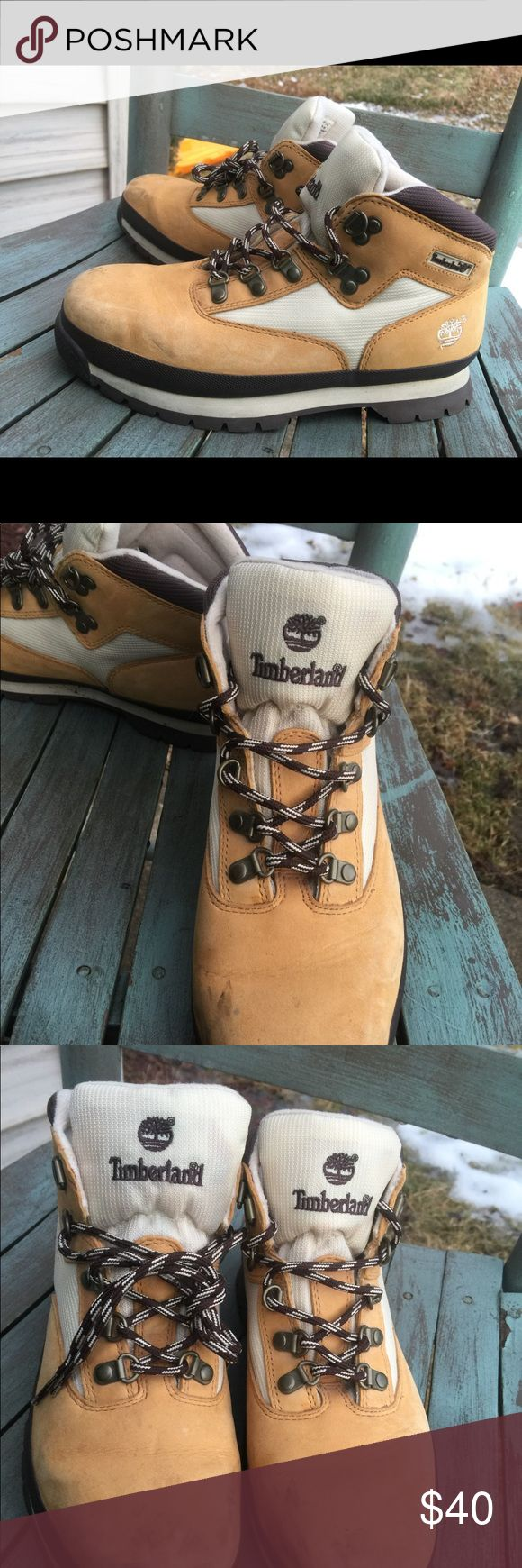 Big boy Timberland Boots Tan & Brown Leather 5M Big boy Timberland Boots Tan & Brown Leather 5M. Some minor spots. Great Condition Timberland Shoes Boots