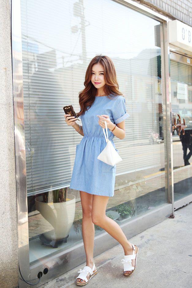 Pocket Waist Shirring Dress