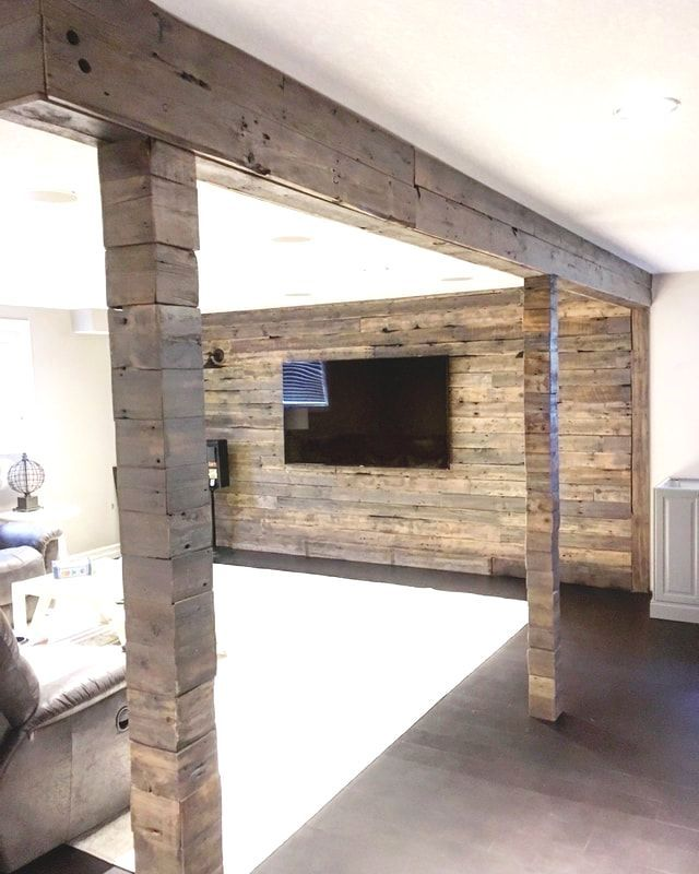 His Her Home Reclaimed Wood Feature Wall In Basement Reno With Cladded Beams And Posts Relooking De Sous Sol Plafonds De Sous Sol Remodelage