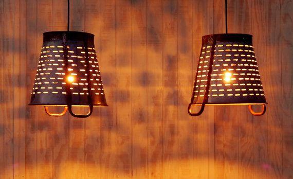 2 Vintage Metal Olive Baskets - Set of Two Hanging Lights - Over island