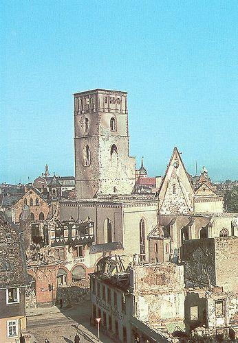 Darmstadt früher   Zerstörte Stadtkirche
