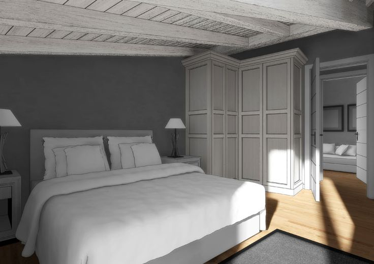 Eidomatica - rendering appartamento in montagna/mountain holiday apartment rendering - camera da letto/master bedroom