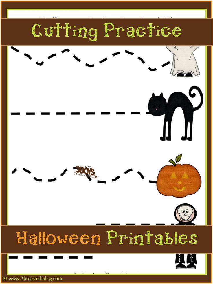 Halloween Preschool Cutting Practice - Free printable worksheets