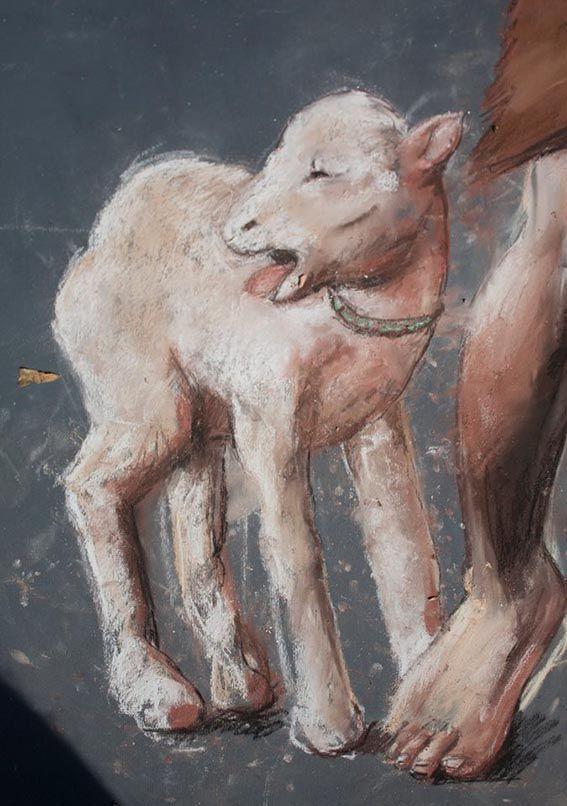 Particolare del dipinto San giovanni Battista - vincitore del primo premio al concorso dei madonnari  di fisciano Carpineto (Sa)