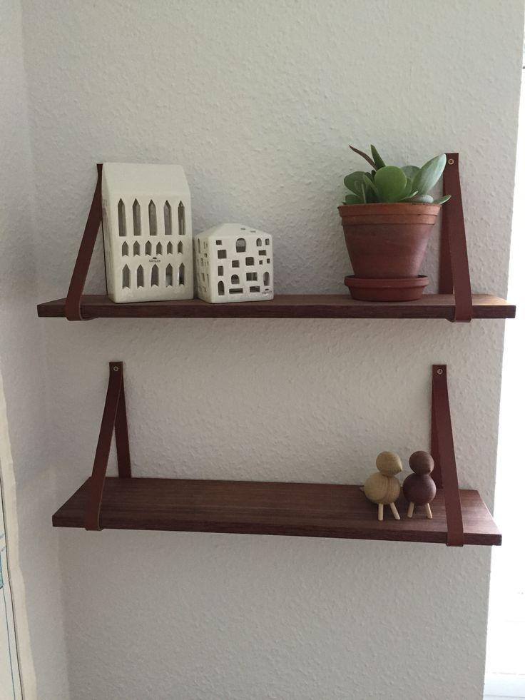 DIY -hjemmelavet hylder. Man skal kun bruge 2 stk. Træ, 4 stk kernelæder og 4 skruer. Home made wooden and lether shelf.