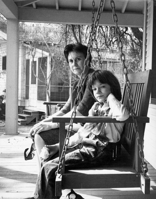 nprfreshair:  Author Harper Lee and actress Mary Badham (Scout) on the set of To Kill a Mockingbird in 1962.  Today is Lee's 87th birthday!   Happy Birthday to Smart Girl, Harper Lee!