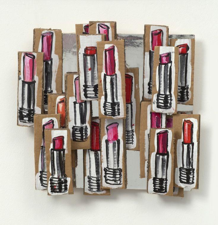 Lisa Milroy Lipstick, 2015 Acrylic on cardboard, glue, wooden batons
