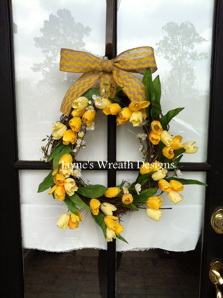Yellow Tulip grapevine wreath with chevron burlap bow