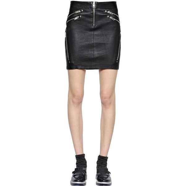 DIESEL Stretch Nappa Leather Skirt ($311) ❤ liked on Polyvore featuring skirts, black, embellished skirts, stretch skirt, front zipper skirt, diesel skirts and stretchy skirts