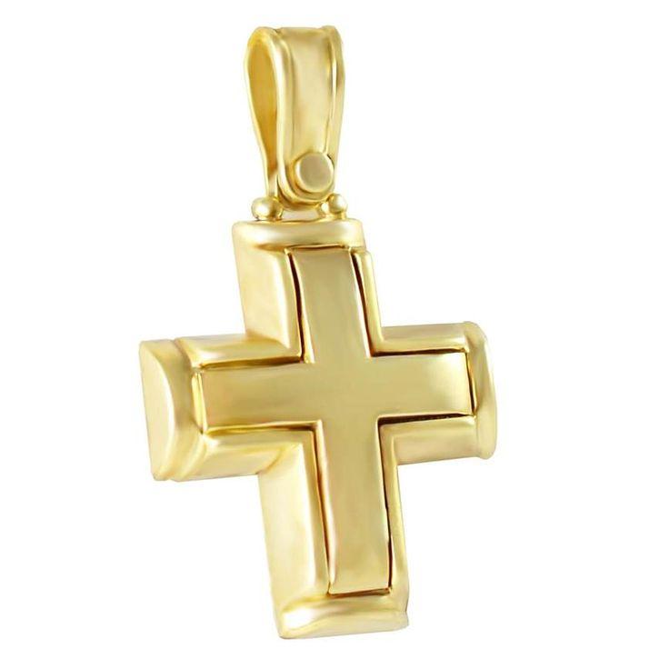 Χρυσός βαπτιστικός σταυρός βαρύς