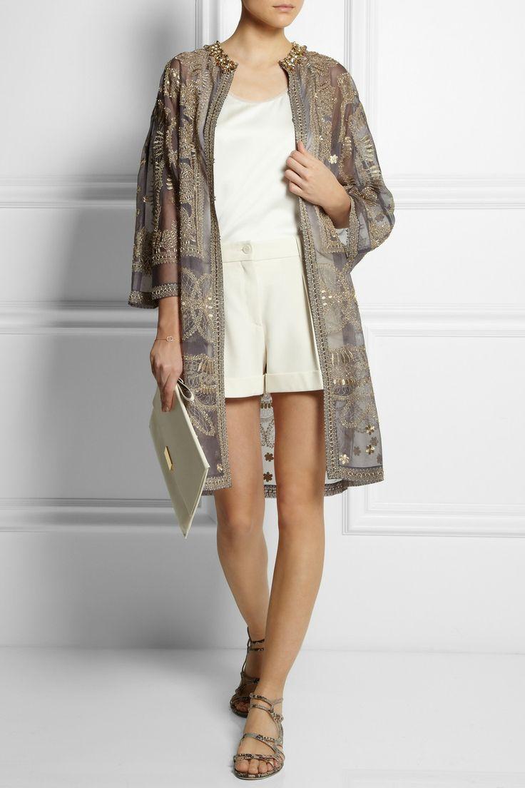 Biyan|Raya embellished silk-organza evening coat|Sophia Kokosalaki | Chiffon-trimmed silk-satin top | Moschino | High-rise crepe shorts | Jimmy Choo | Snake-effect leather sandals | Stella McCartney | Faux leather clutch |